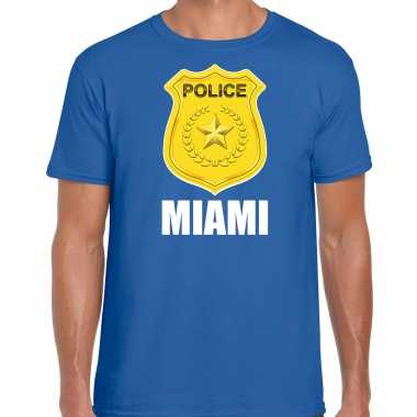 Police / politie embleem miami verkleed t-shirt blauw voor heren carnaval