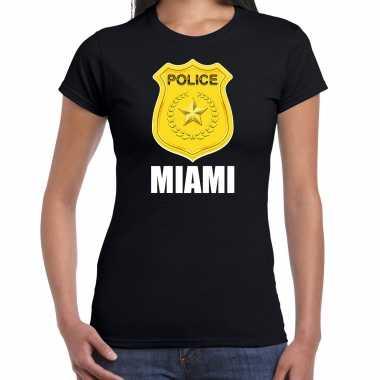 Police / politie embleem miami verkleed t-shirt zwart voor dames carnaval