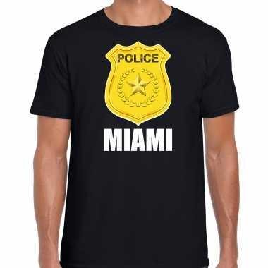 Police / politie embleem miami verkleed t-shirt zwart voor heren carnaval
