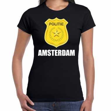 Politie embleem amsterdam carnaval verkleed t-shirt zwart voor dames