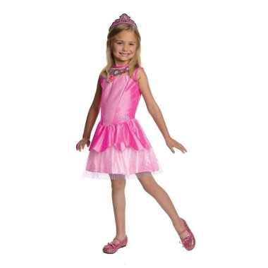 Prinses jurkje roze met tiara voor meisjes carnaval