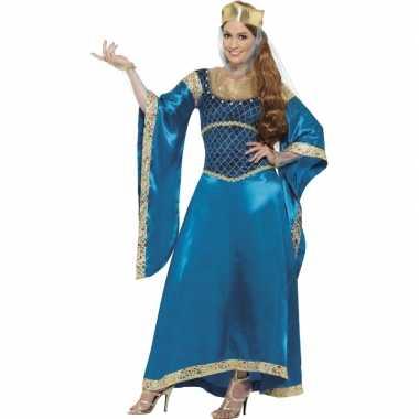 Prinsessen jurk in de kleur blauw voor carnaval