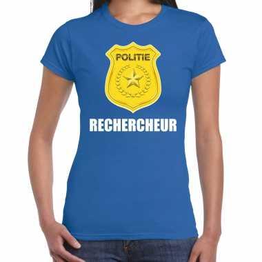 Rechercheur politie embleem carnaval t-shirt blauw voor dames