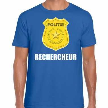 Rechercheur politie embleem carnaval t-shirt blauw voor heren