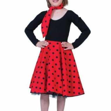 Rode fifties rok voor meiden carnaval