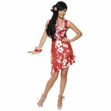 Rode Hawaii jurken met accessoires voor carnaval