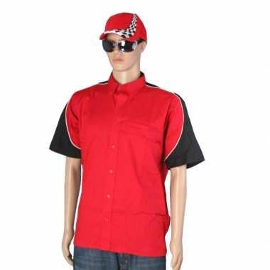 Rode race coureur shirt met pet maat L voor carnaval