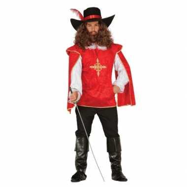 Rood musketierspak voor heren carnaval