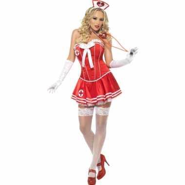 Rood zuster pakje met korset voor carnaval