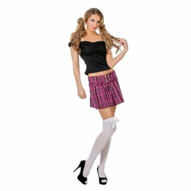 Roze Britney rok met ruitjes voor carnaval
