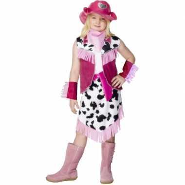Roze Cowgirl carnavalskleding kind voor