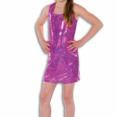 Roze glitter jurkje voor meisjes carnaval