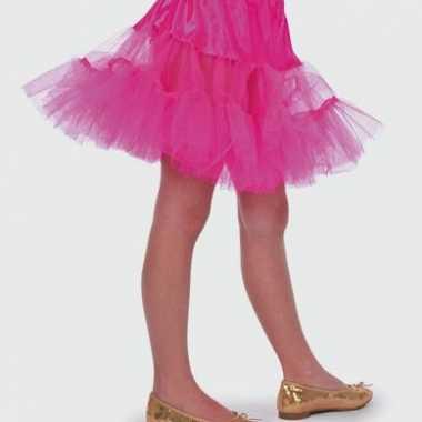 Roze petticoat rokje voor meiden carnaval