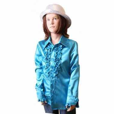 Satijnen blouse blauw meisjes voor carnaval