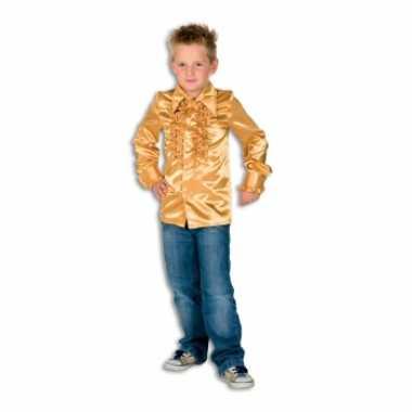 Satijnen blouse goud jongens voor carnaval