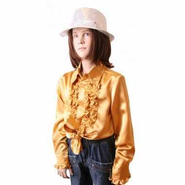 Satijnen blouse goud meisjes voor carnaval