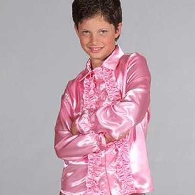 Satijnen blouse roze kinderen voor carnaval