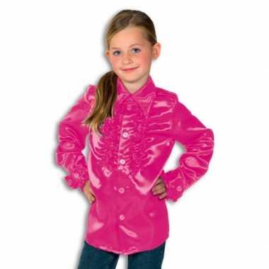 Satijnen blouse roze rouches blouse roze voor jongens