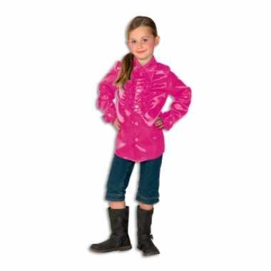 Satijnen blouse roze voor meisjes carnaval