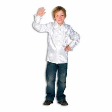 Satijnen blouse wit voor jongens carnaval