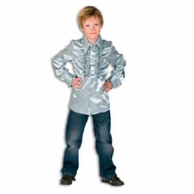 Satijnen blouse zilver jongens voor carnaval