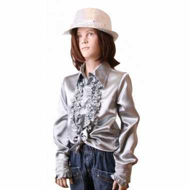 Satijnen blouse zilver meisjes voor carnaval