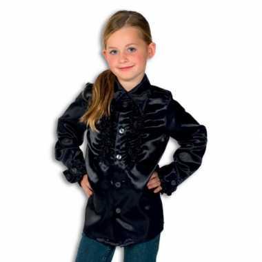 Satijnen blouse zwart jongens voor carnaval