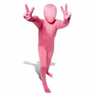 Second skin kinder kostuum roze voor carnaval