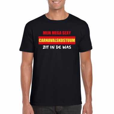 Sexy carnavalskostuum zit in de was heren t-shirt zwart voor