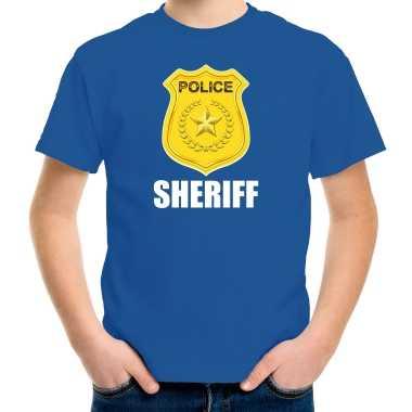 Sheriff police / politie embleem t-shirt blauw voor kinderen carnaval