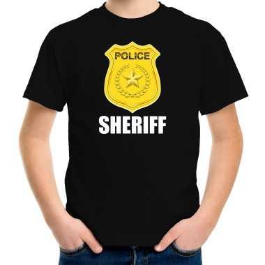 Sheriff police / politie embleem t-shirt zwart voor kinderen carnaval