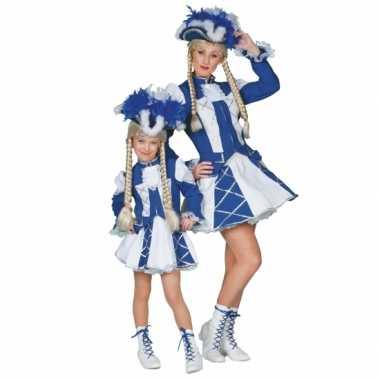 Showdans pakje voor meiden blauw met wit carnaval