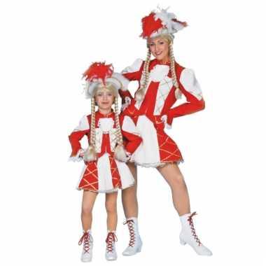Showdans pakje voor meiden rood met wit carnaval
