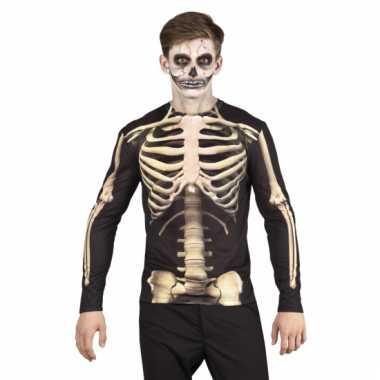 Skeletten herenshirt voor carnaval