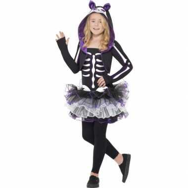 Skelleten kostuum kat voor meisjes carnaval
