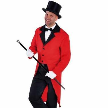 Slipjas rood met bijpassende hoed voor carnaval
