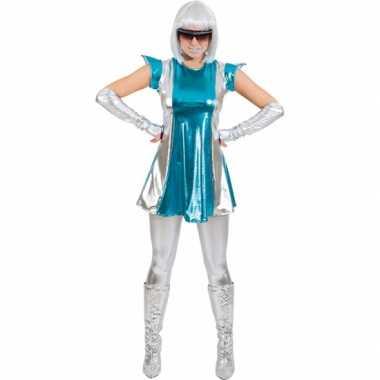 Space verkleed pakje blauw/zilver voor dames carnaval