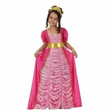 Sprookjes jurk roze voor kinderen carnaval