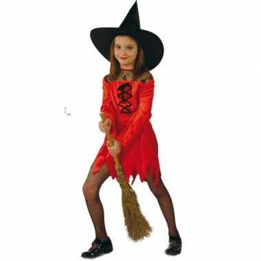 Suede heksenjurk voor meisjes rood carnaval