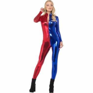 Superheld catsuit rood/blauw metallic voor carnaval