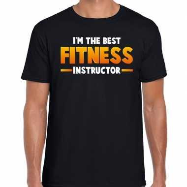 The best fitness instructor t-shirt zwart voor heren carnaval