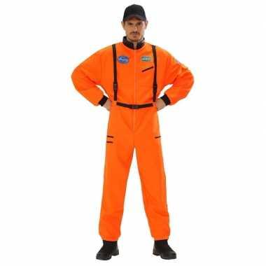 Verkleed kleding astronaut jumpsuit oranje voor heren carnaval