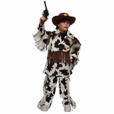 Verkleedkleding cowboy outfit met koeienprint voor kids carnaval