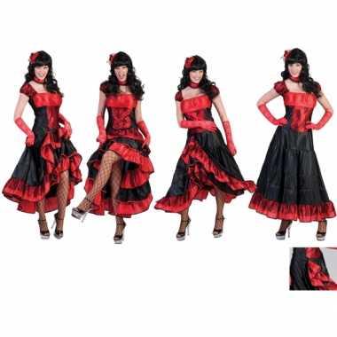 Verkleedkleding dansjurk rood met zwart voor carnaval