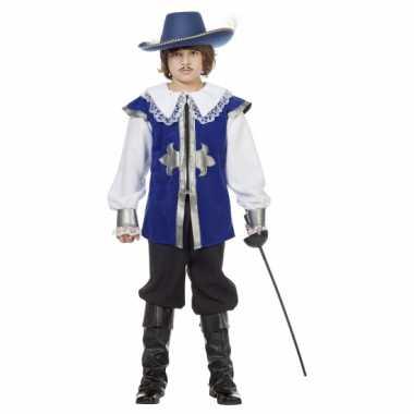 Verkleedkleding musketier blauw voor carnaval
