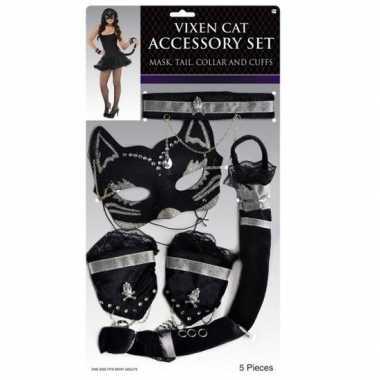 Verkleedsetje poes/kat zwart voor carnaval