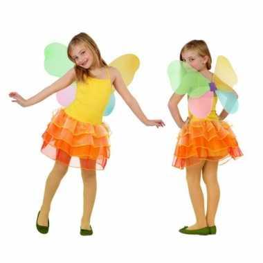 Vlinder jurkje voor meiden geel/oranje carnaval