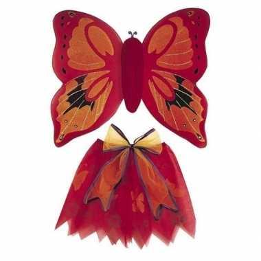 Vlinder vleugels verkleed set rood voor kinderen carnaval