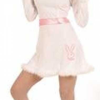 Wit roze jurk bunny voor carnaval
