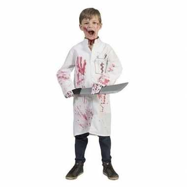 Witte doktersjas met tube nepbloed voor kinderen carnaval